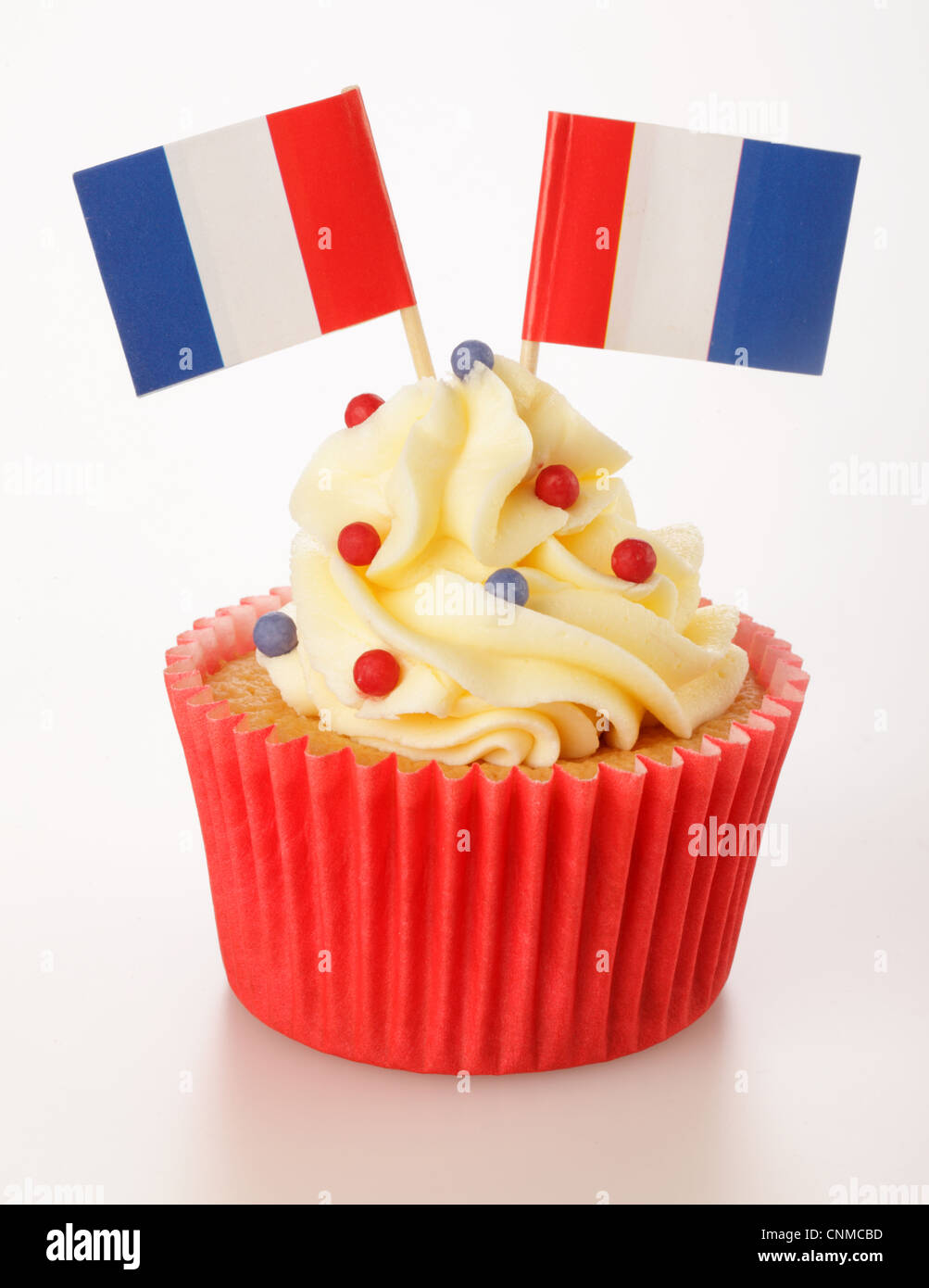 FRENCH FLAG CUPCAKE - Stock Image