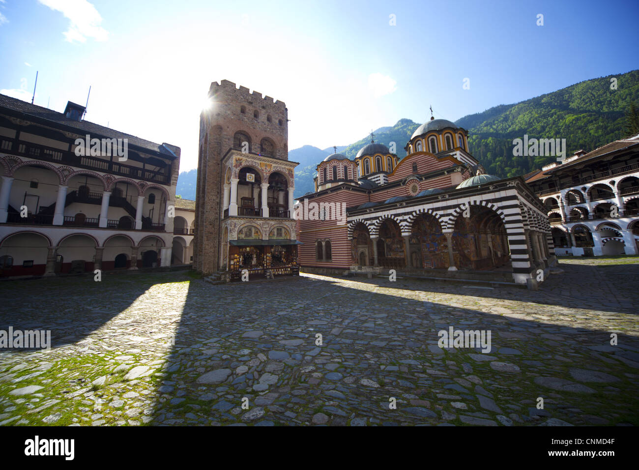 Courtyard, Church of the Nativity, Rila Mountains, Bulgaria, Europe - Stock Image