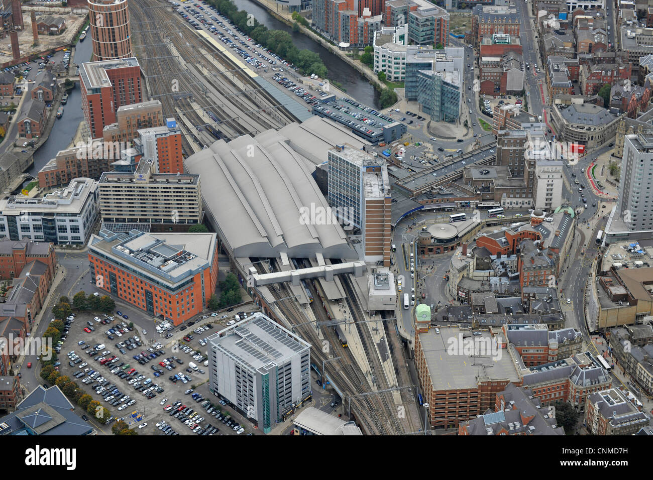Aerial Photograph showing Leeds Railway Station and surrounding area. - Stock Image