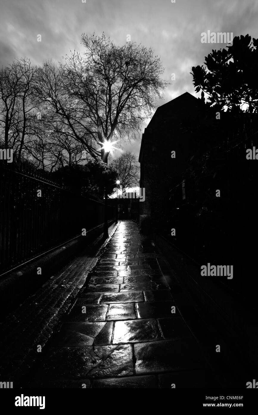 Dusk falling on St Alfege Passage, Greenwich, London, UK Stock Photo