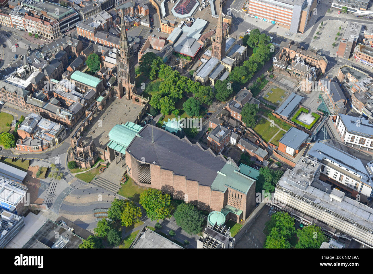 Aerial photograph showing both the ruined Coventry Cathedral and the New. - Stock Image