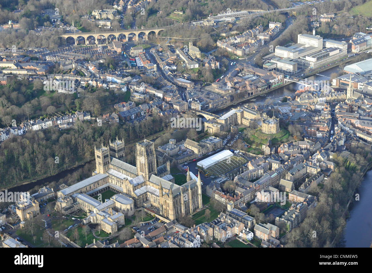Aerial photograph or Durham Cathedral and town - Stock Image