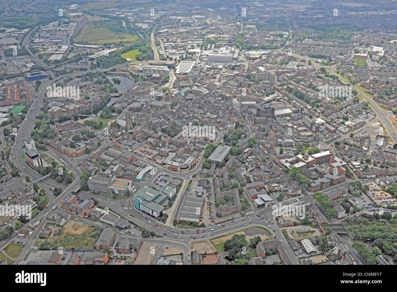 Aerial photograph showing Derby city centre and the ring road, A601 - Stock Image