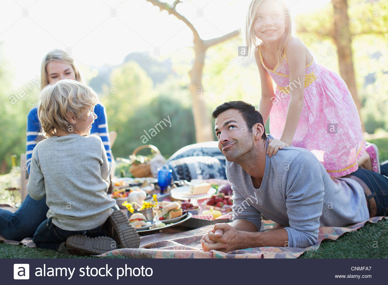 Family picnicking in grass - Stock Image