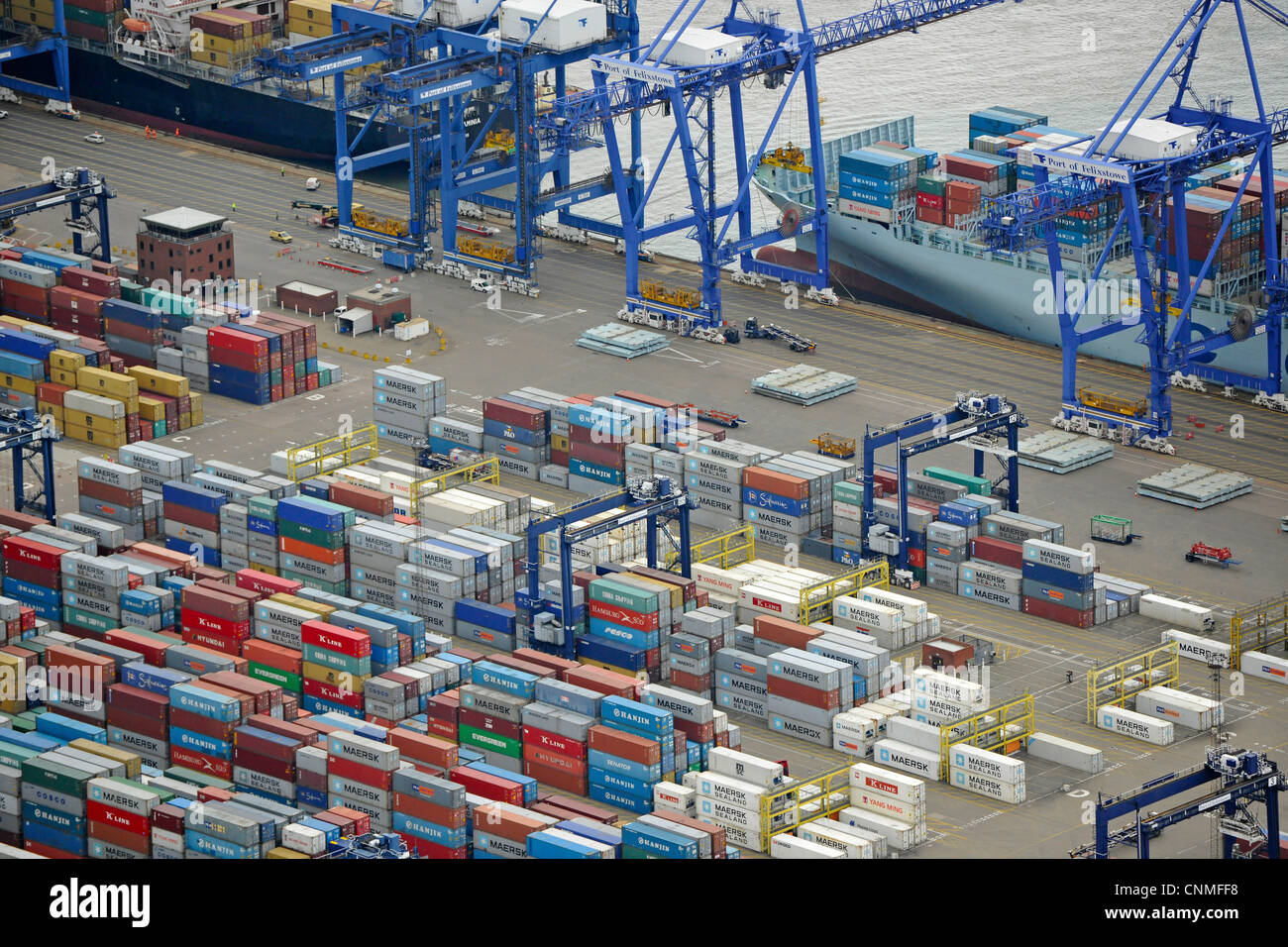 Aerial View showing containers in Felixstowe docks. - Stock Image