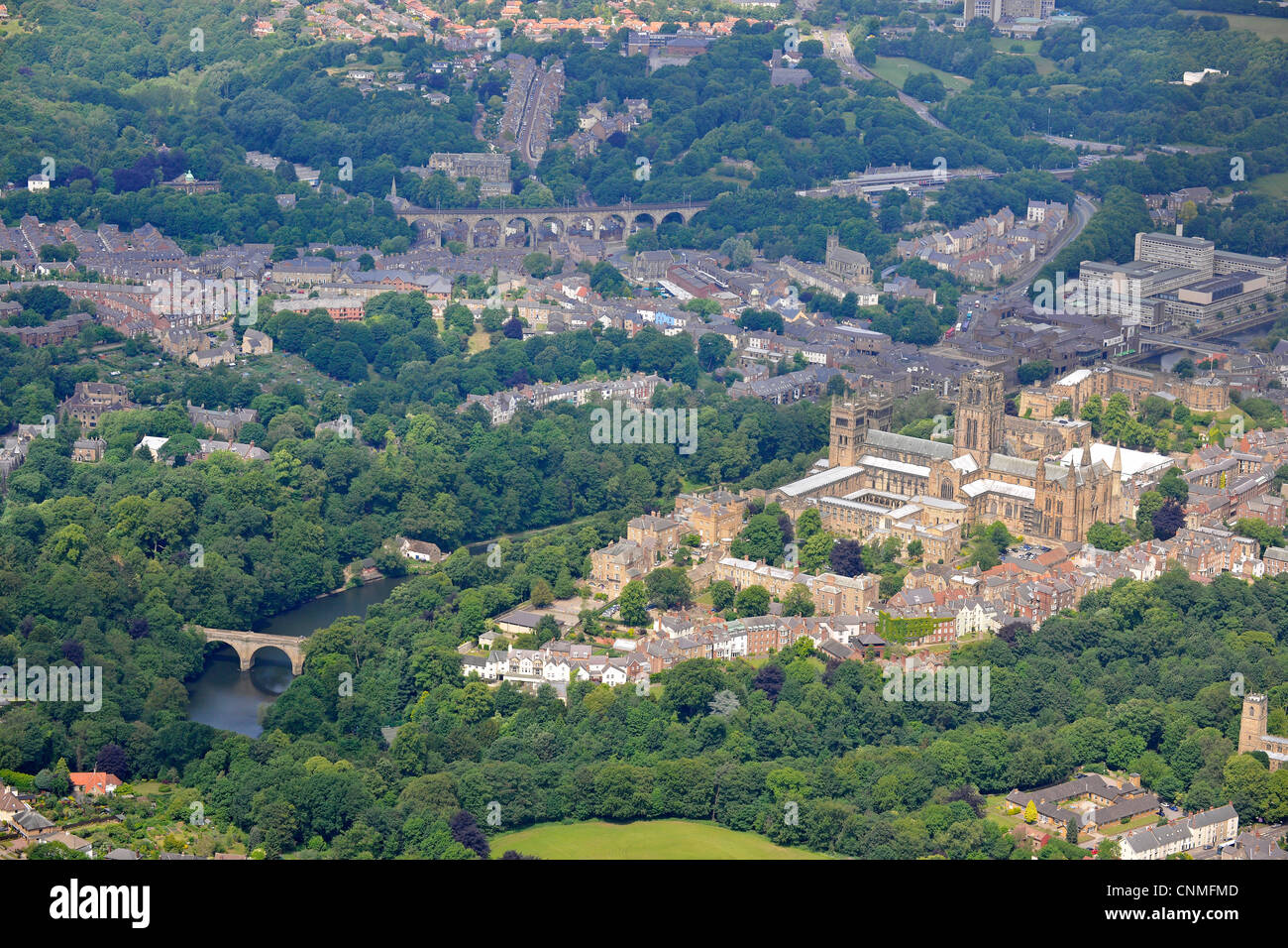 Aerial View of Durham Cathedral with Durham town in the background. - Stock Image