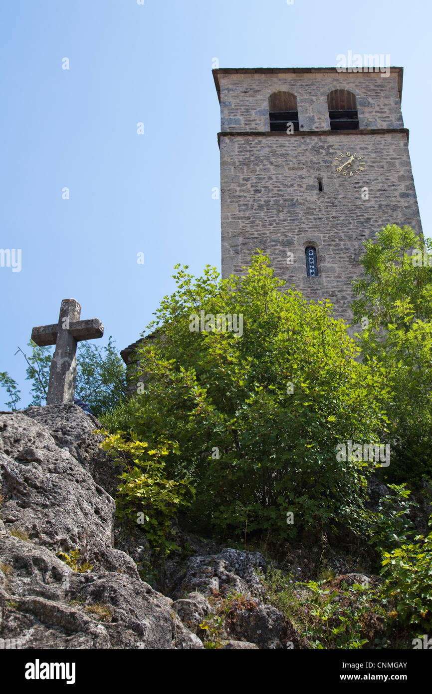 Church tower, Cite de la Couvertoirade, Aveyron, France - Stock Image