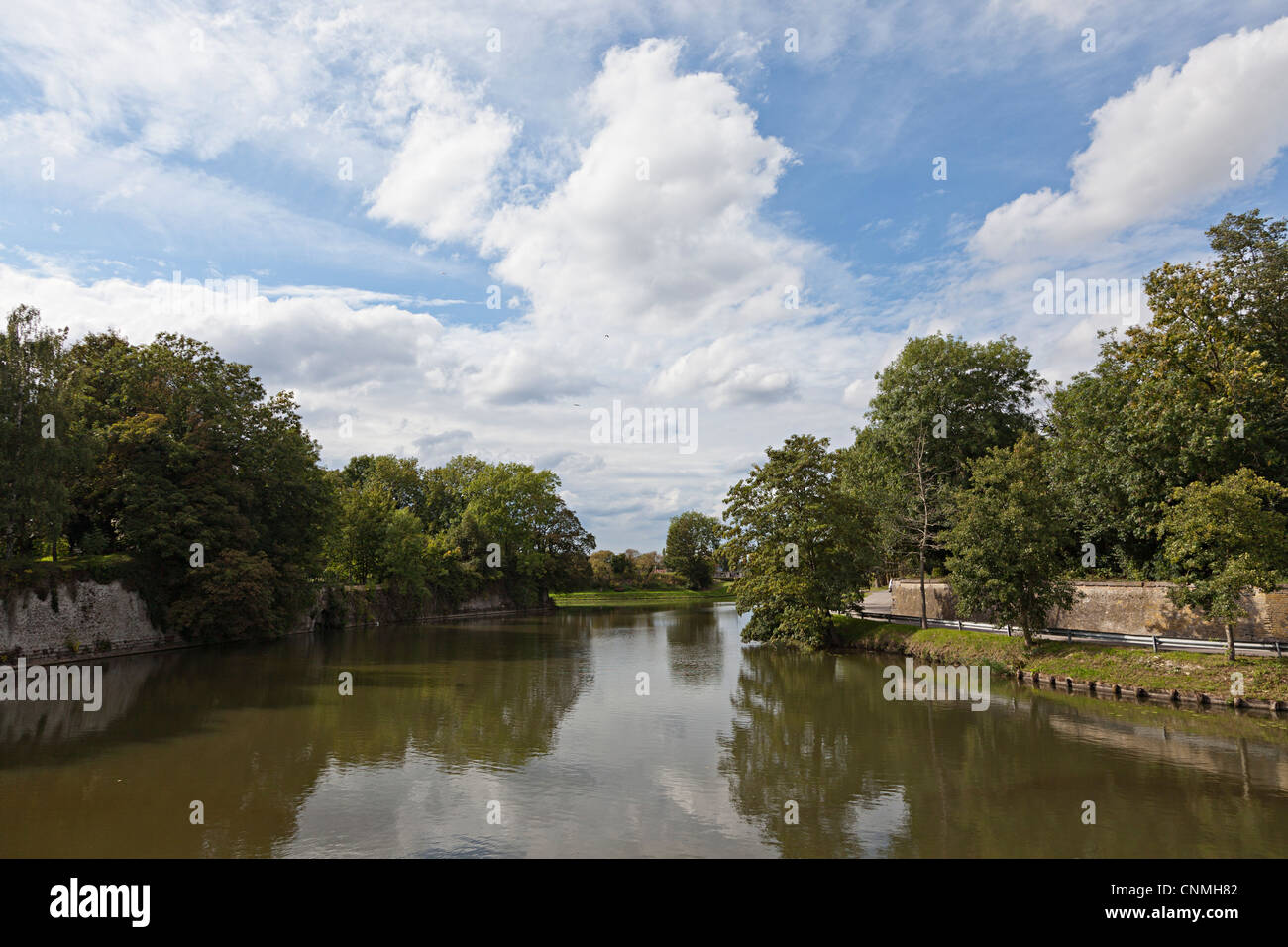 River Colne, Bergues, Nord, France - Stock Image