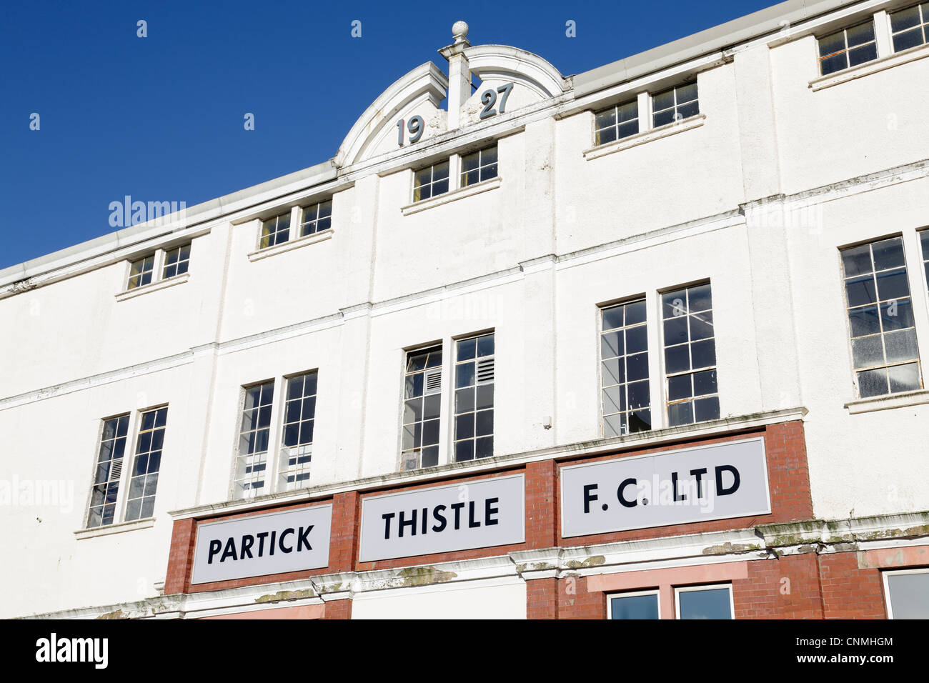 The front facade of the Firhill Main Stand the home of Partick Thistle Football Club in Glasgow, Scotland, UK - Stock Image