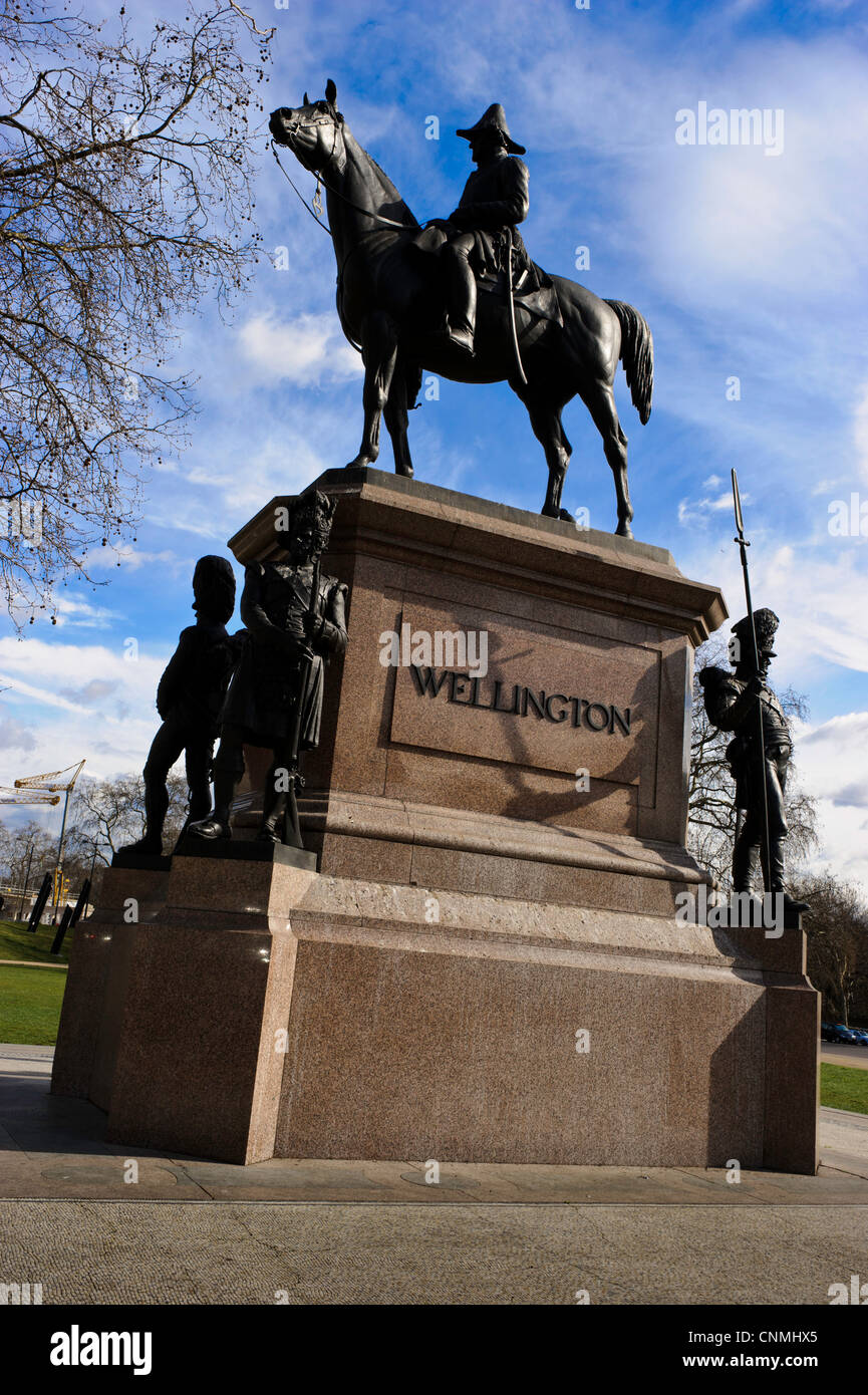 Statue of the Duke of Wellington, located in Hyde Park - Stock Image