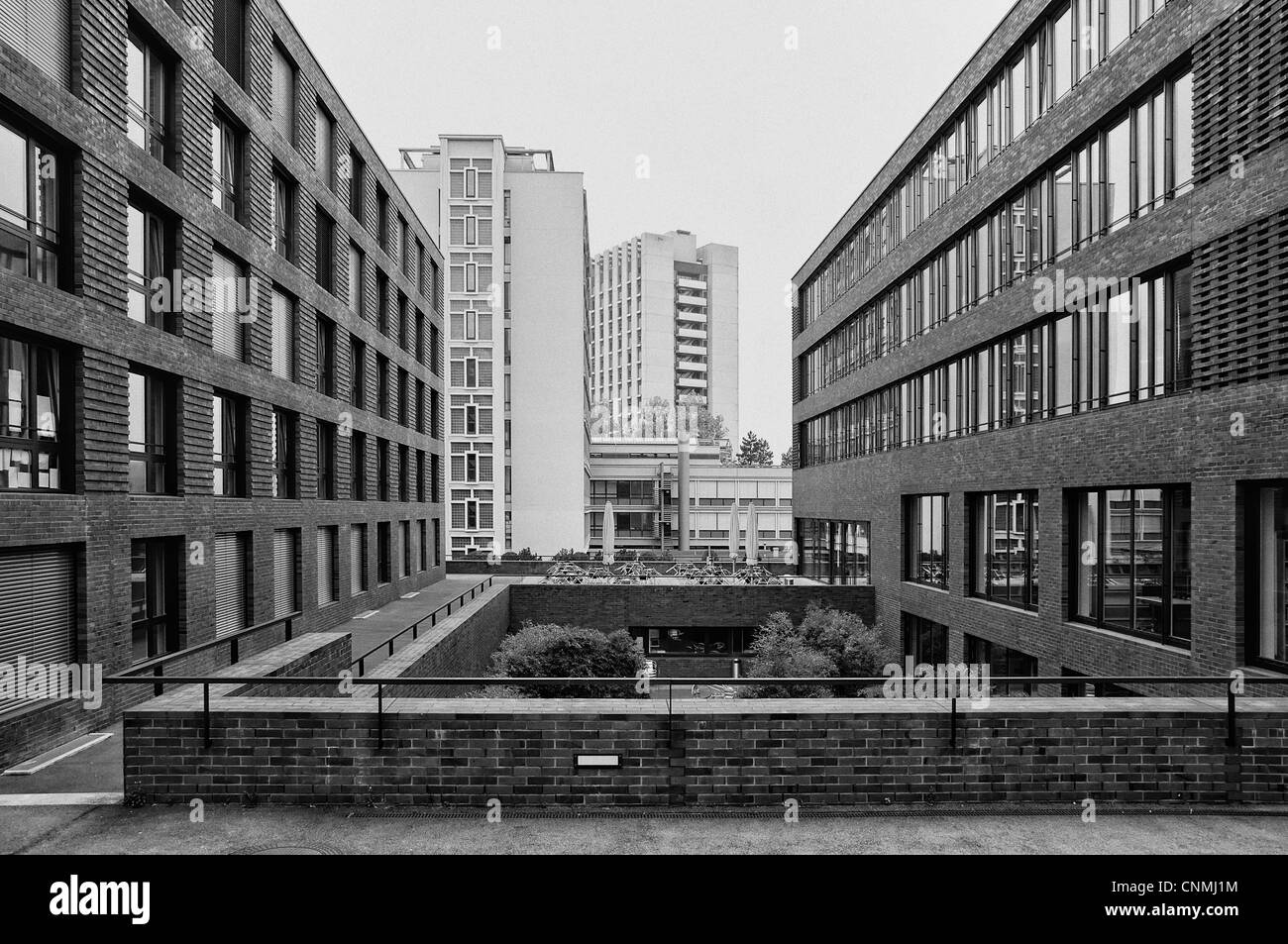 View of Zurich Universtiy buildings. Black and White version. - Stock Image