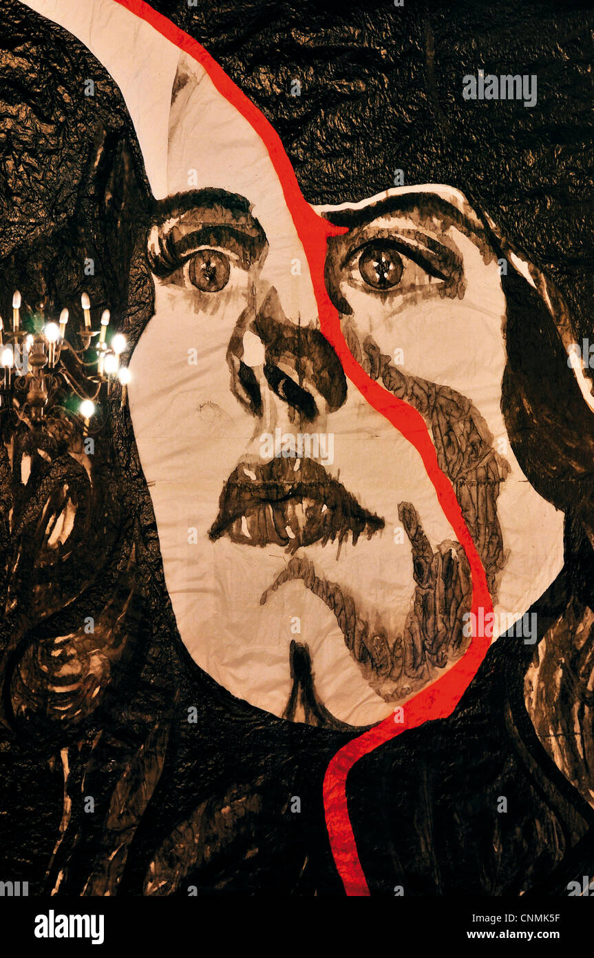 Portugal: Detail of the painting 'Haunted Face' by Adriana Molder in the bedroom of the Palacio dos Duques - Stock Image