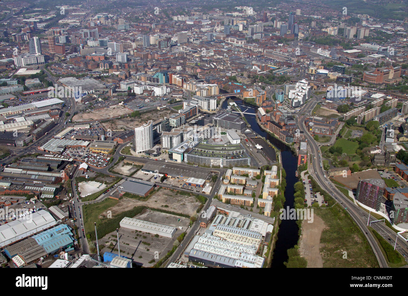 Aerial view of Clarence Dock area of Leeds - Stock Image