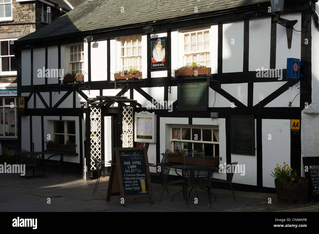 Queens Head Hotel Bar and Restaurant in the Lake District National Park Hawkshead Village Cumbria England United - Stock Image