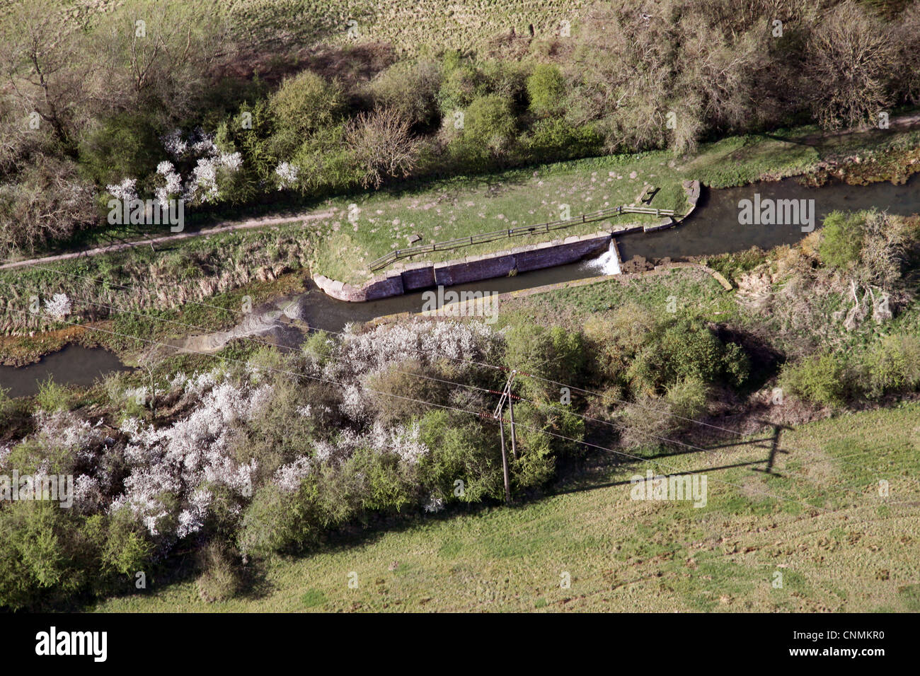 aerial view of a disused canal lock - Stock Image