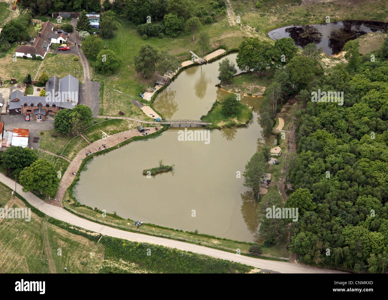 aerial view of a recreational fishing lake - Stock Image