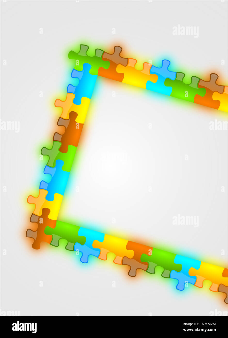 Color and glossy puzzle frame background usefull for cover pages, brochure, presentation and advertising messages - Stock Image