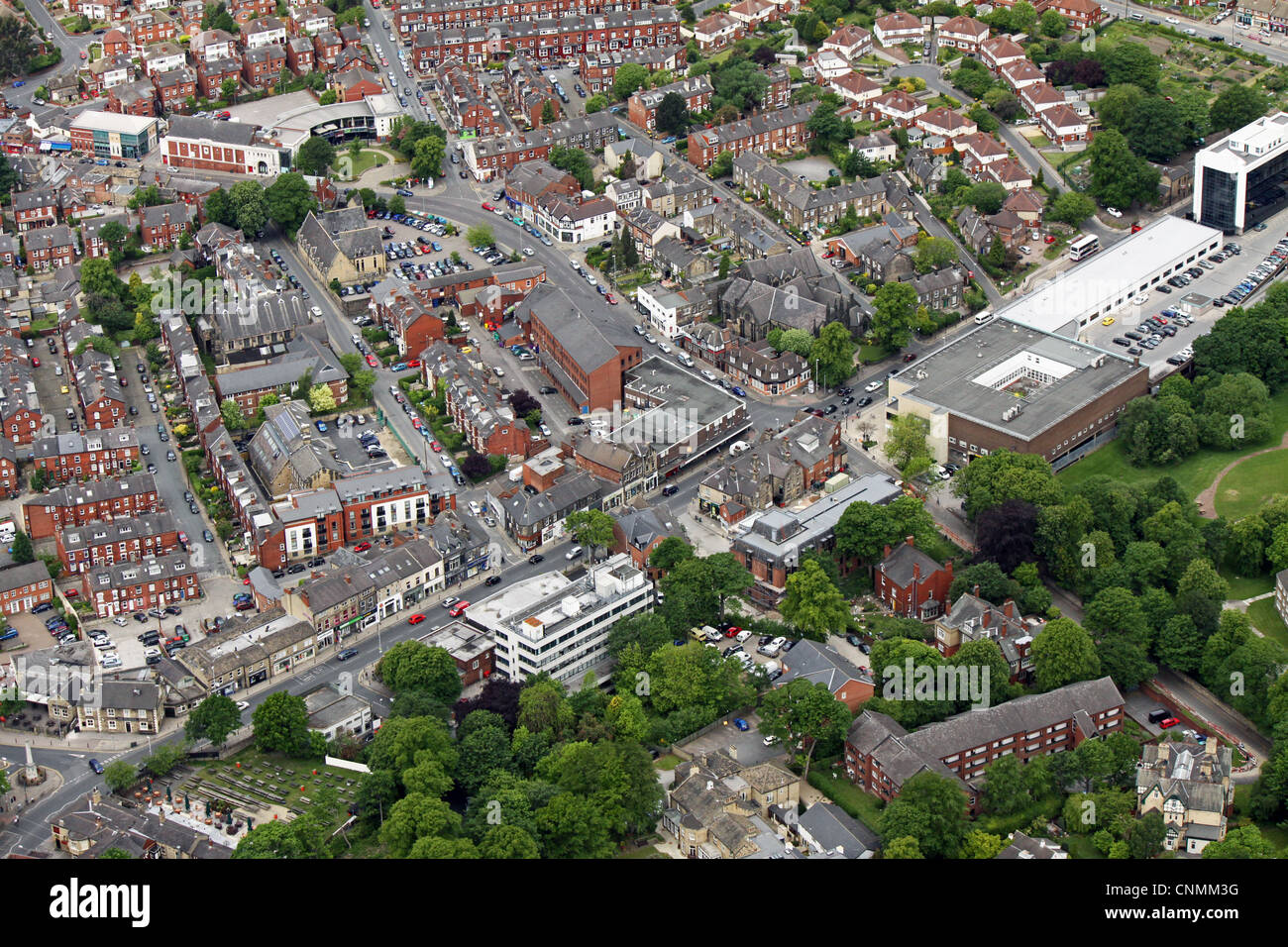 Aerial view of Otley Road and Headingley Lane, Leeds - Stock Image