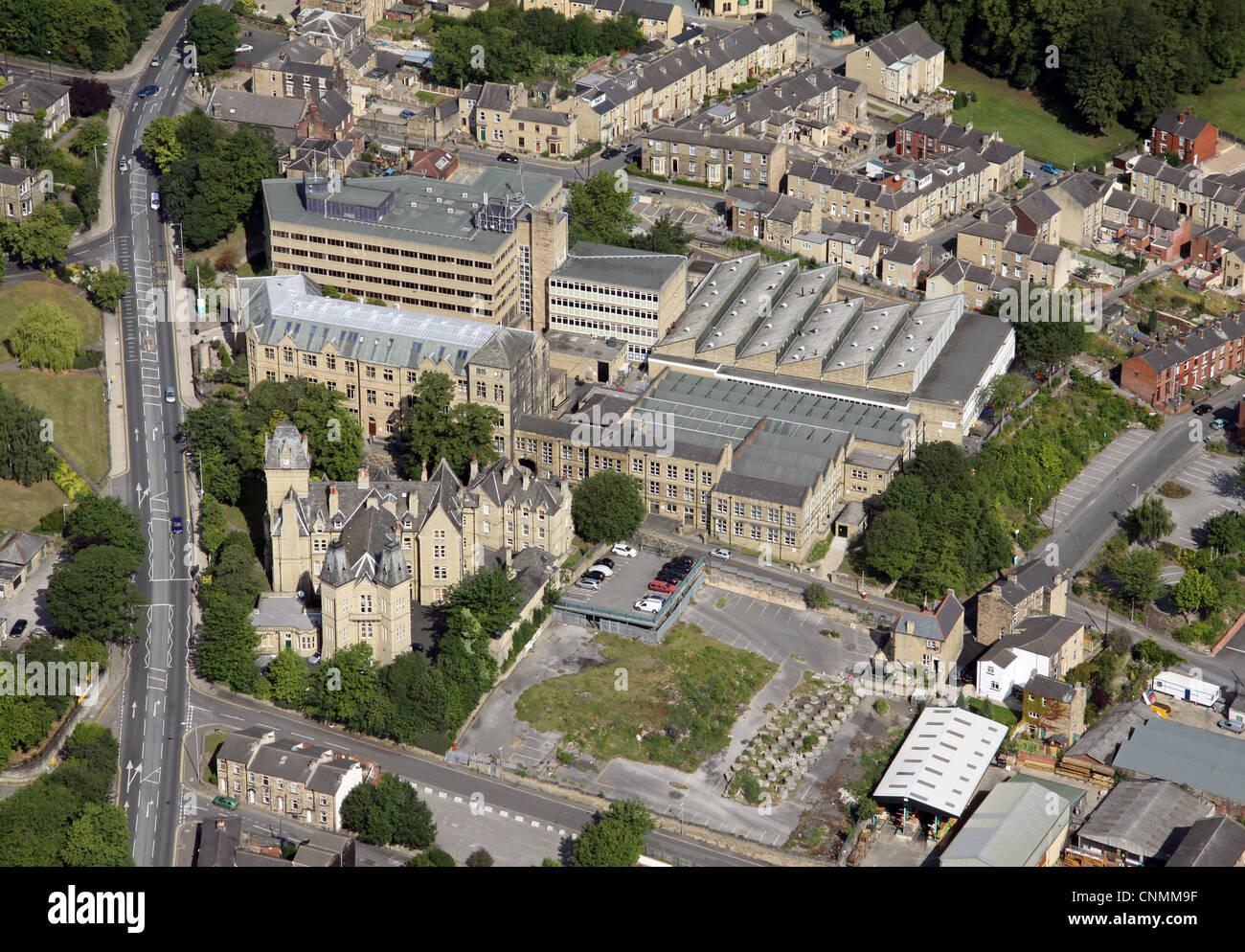 aerial view of Kirklees College, Dewsbury - Stock Image
