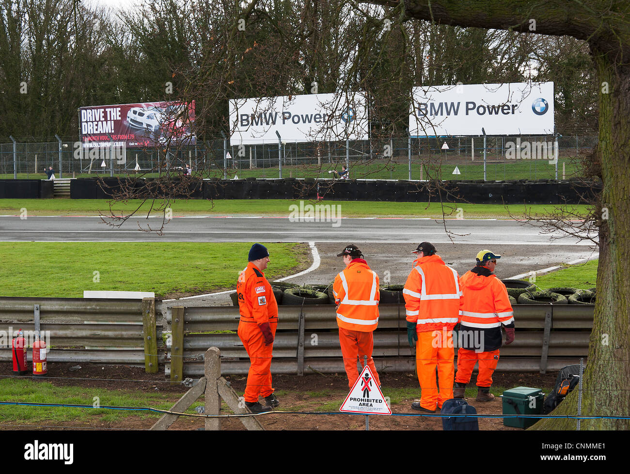 Track Marshals at Oulton Park Motor Racing Circuit Oversee Safety at an Historic Racing Car Race in Cheshire England - Stock Image
