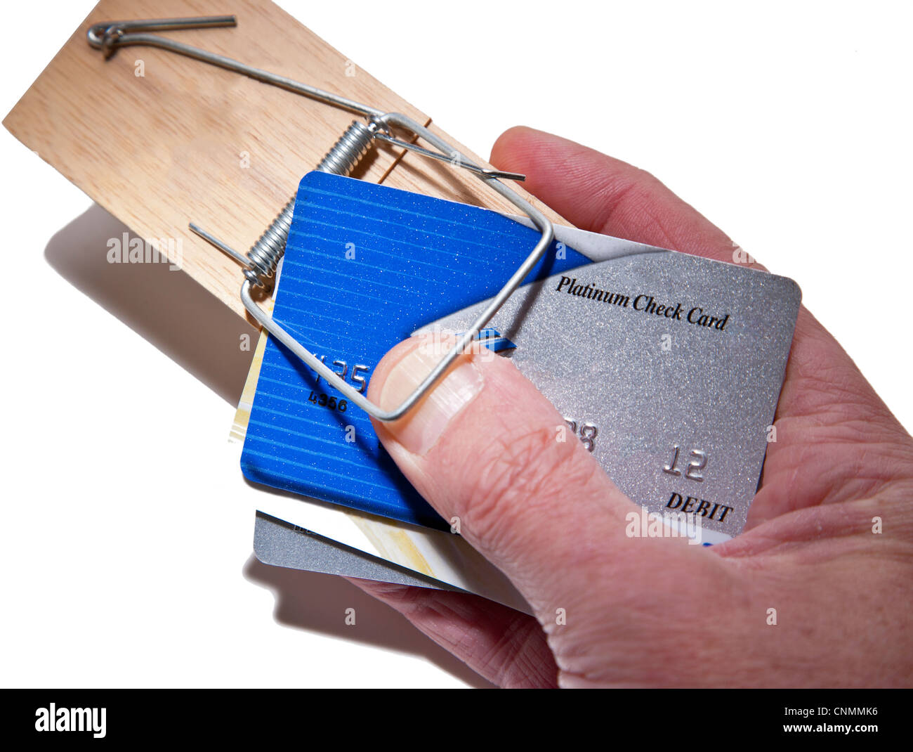 credit cards in mouse trap trapping fingers metaphor for credit card trap etc stock image
