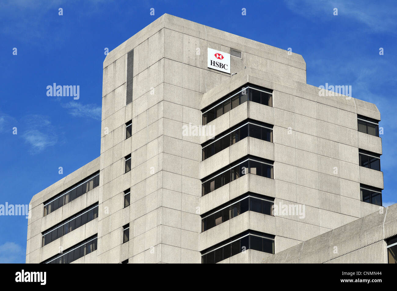 Concrete office block with the HSBC logo, in the Nelson Gate complex the centre of Southampton, Hampshire, UK Stock Photo