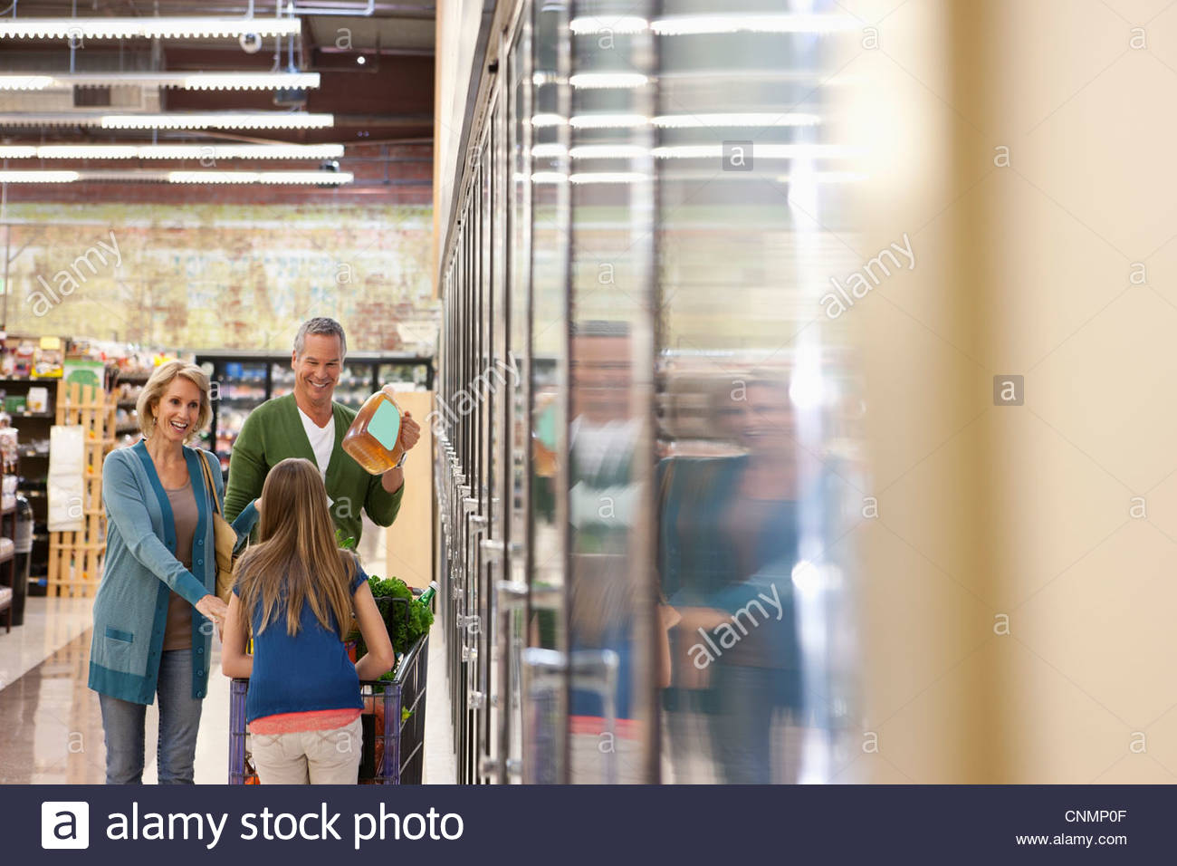 Family shopping in supermarket - Stock Image