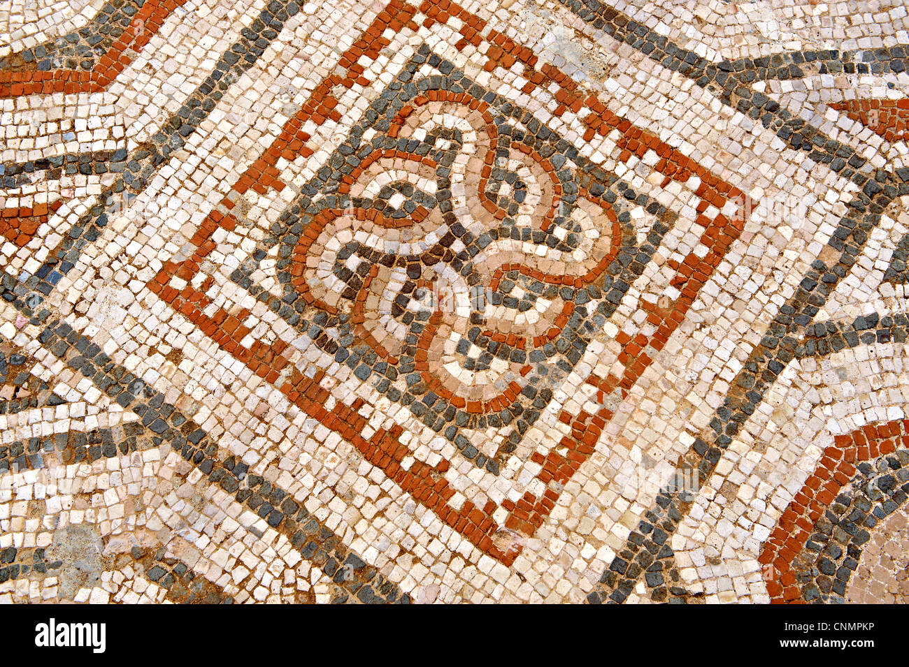 Second Century Roman Jewish mosaics from the Synagogue of Sardis. Sardis Archaeological Site, Turkey - Stock Image