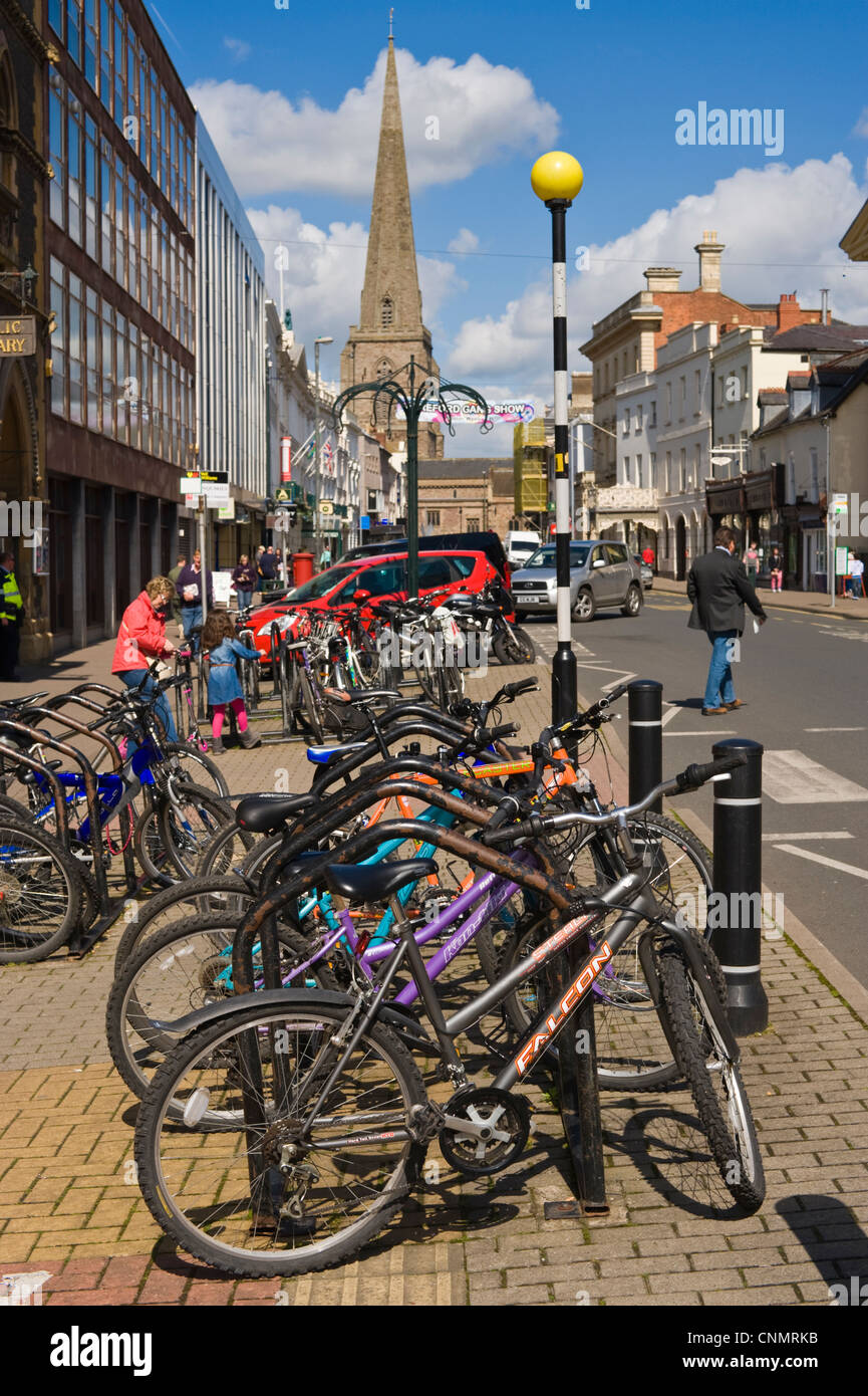 Bicycle parking area on pavement in Hereford Herefordshire England UK - Stock Image