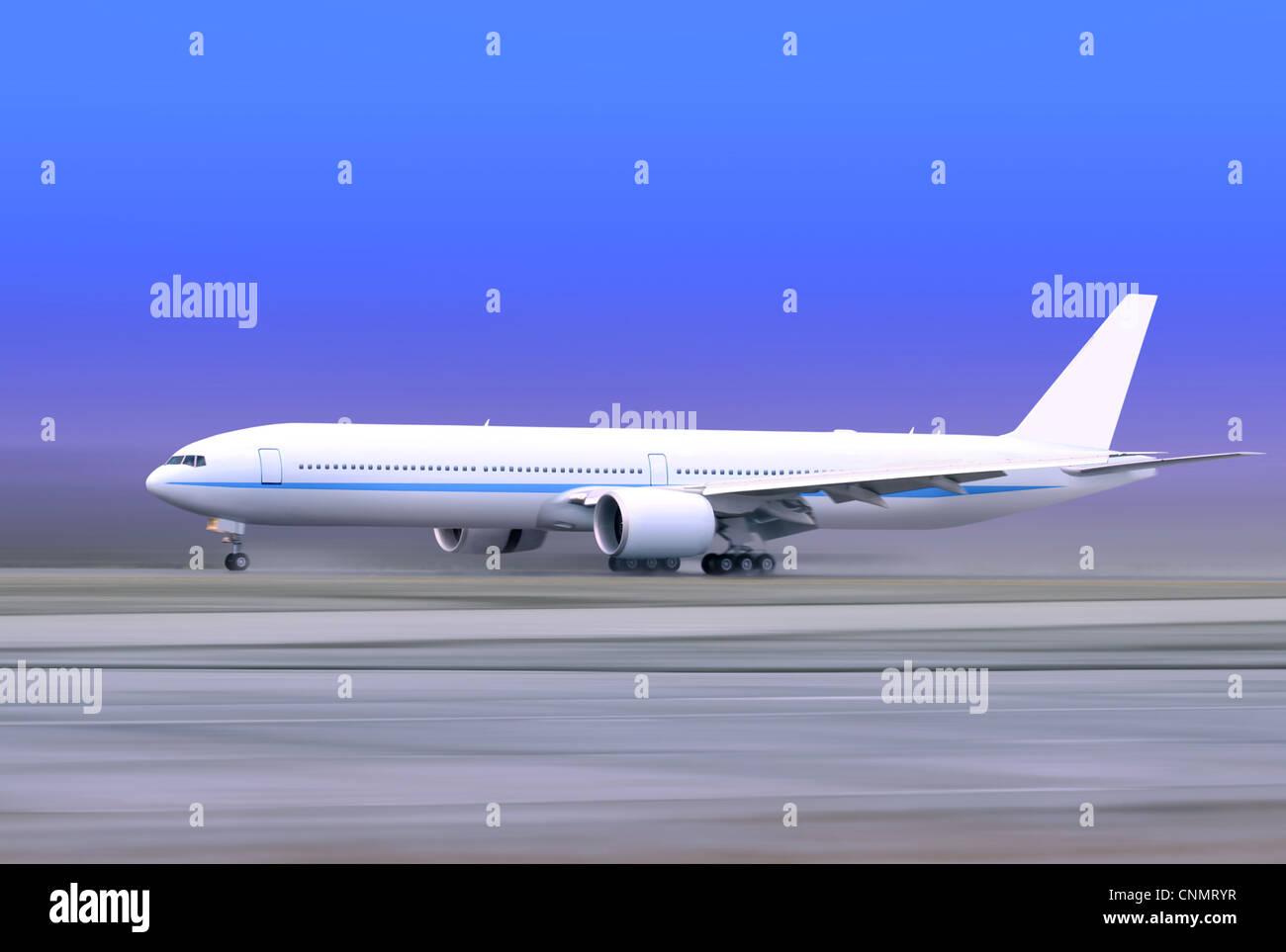 white passenger plane taking off on foggy runway Stock Photo