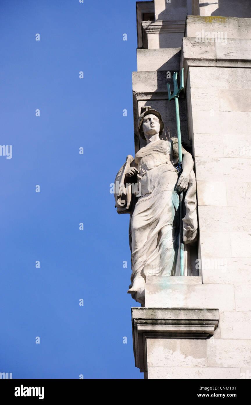 Statue of Britannia on Britannic House, Finsbury Circus, London - Stock Image