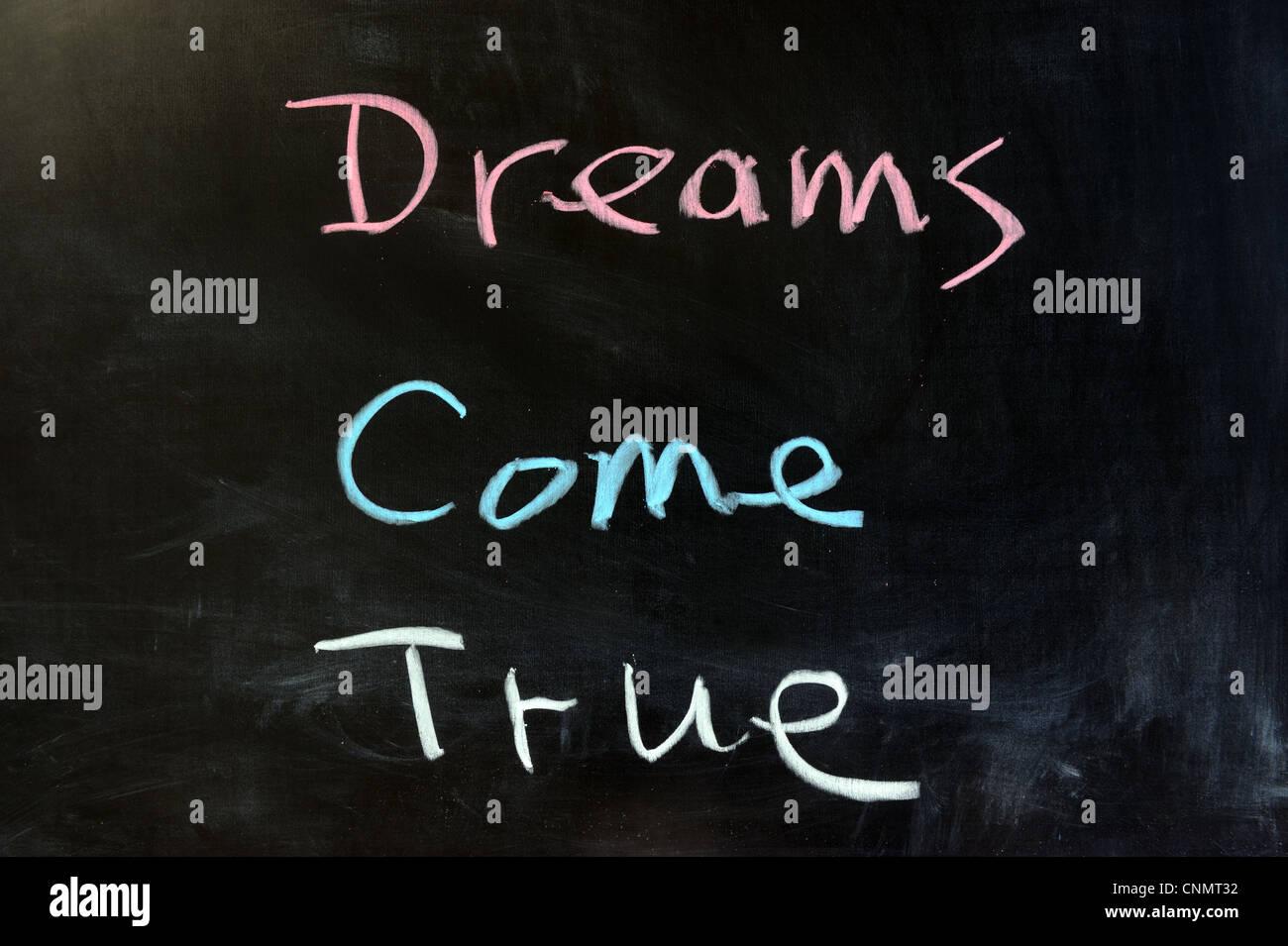 Chalk drawing - Dreams come true - Stock Image