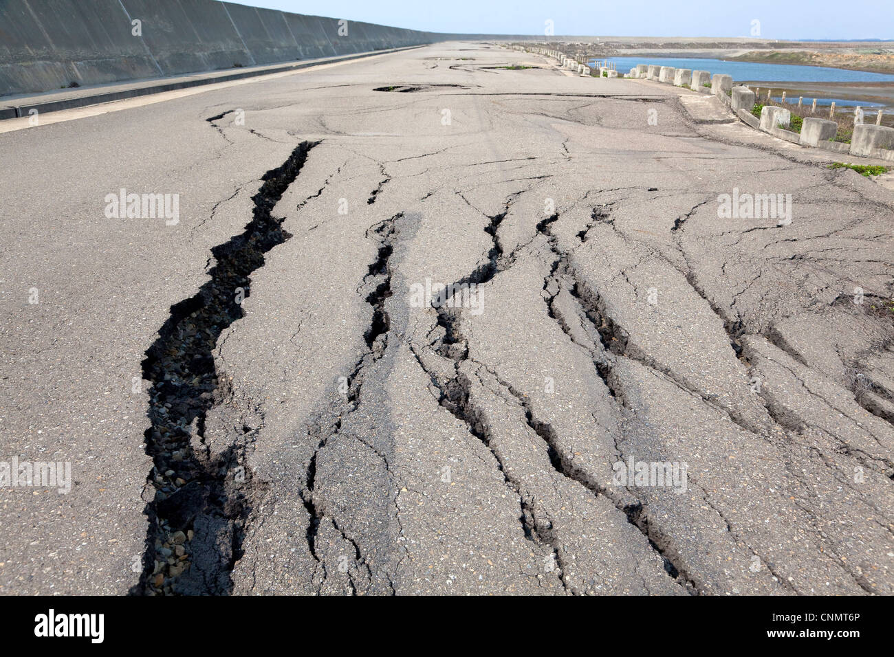 collapse and cracked road - Stock Image