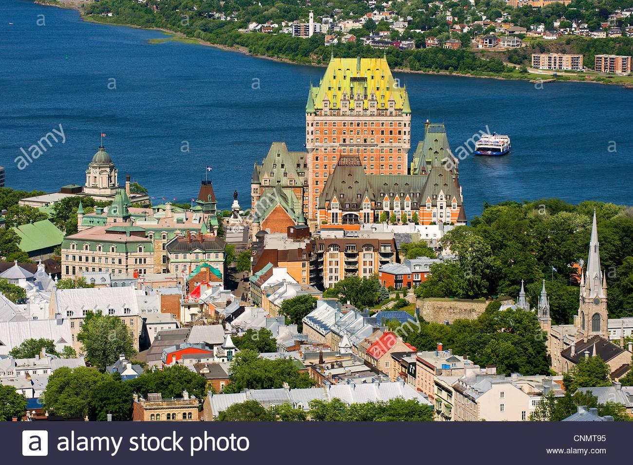 chateau frontenac and saint laurent river, quebec city, quebec, canada - Stock Image