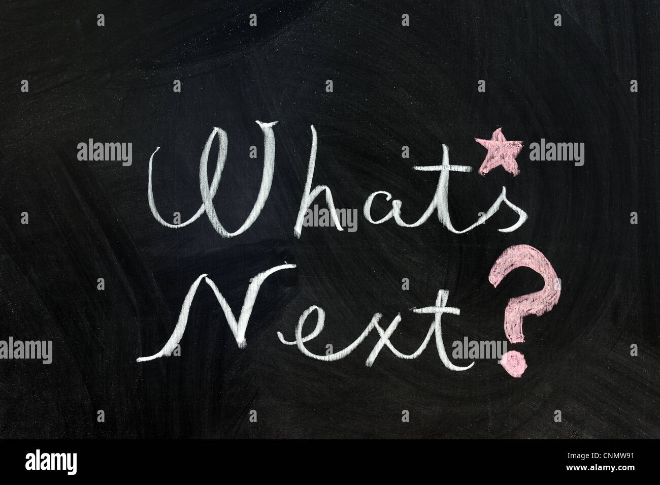 Chalk writing - What's next words written on chalkboard - Stock Image