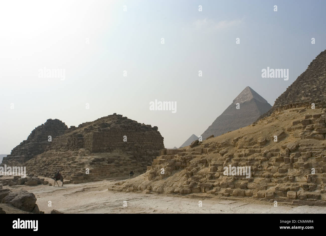 Egypt. Satellite pyramids of the Great Pyramid of Khufu known as The Pyramids of Queens. G 1-a, G 1-b and G1-c. - Stock Image