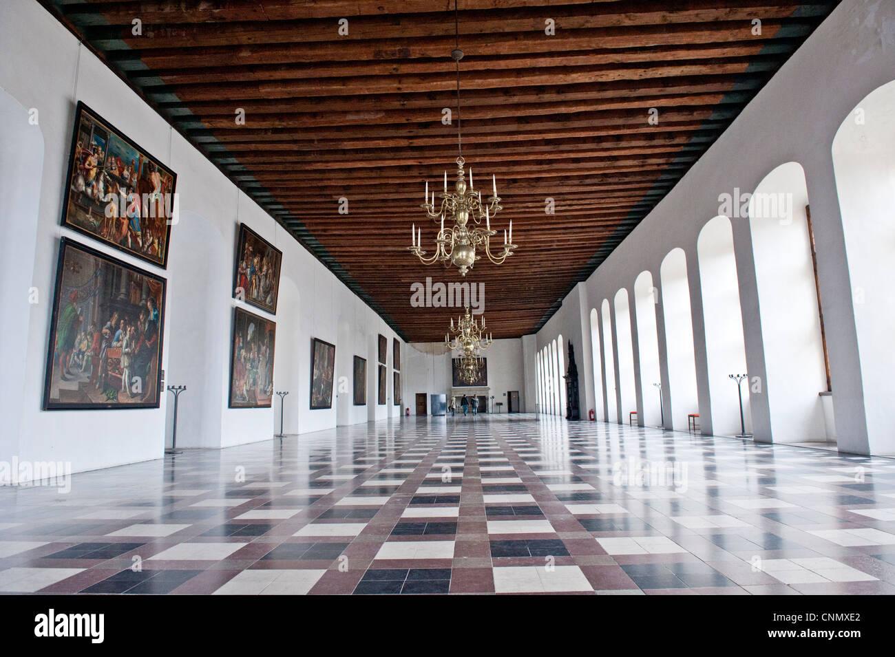 The hall of Kronborg Castle in Elsinore Denmark - Stock Image