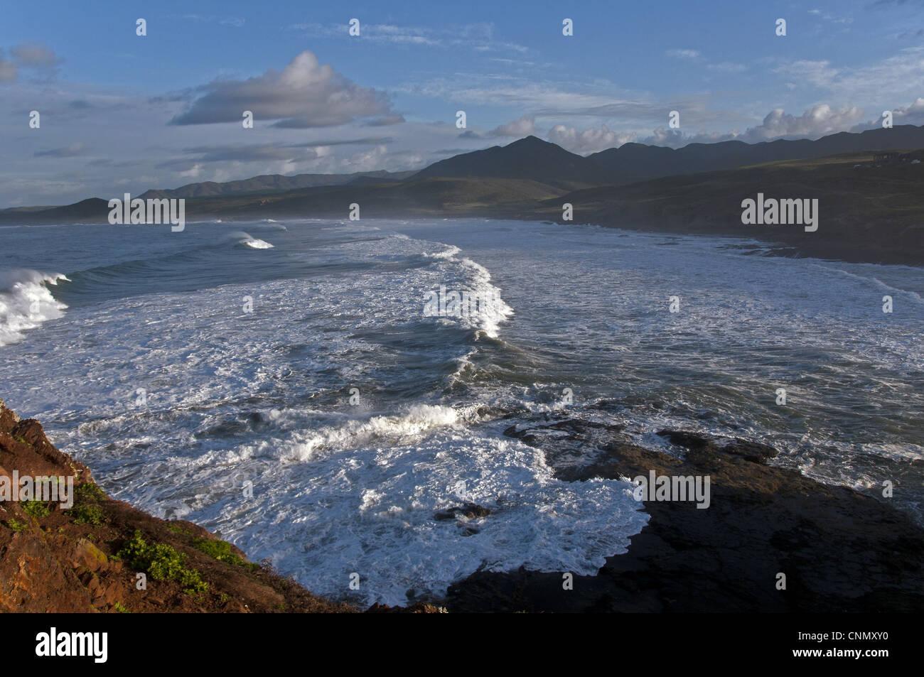 View of coastline, Almejas Bay, Baja California, Mexico, march - Stock Image