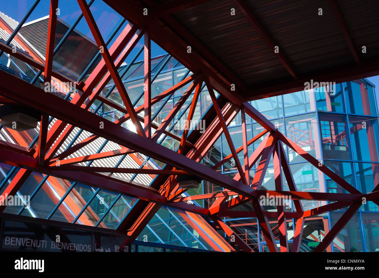 National Exhibition Centre, Birmingham, UK Structural steelwork and glazing. - Stock Image
