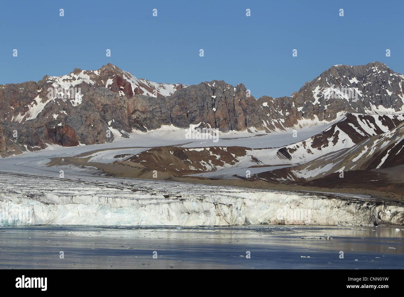 View of coastal glacier terminus, Fourteenth July Glacier, Spitsbergen, Svalbard - Stock Image