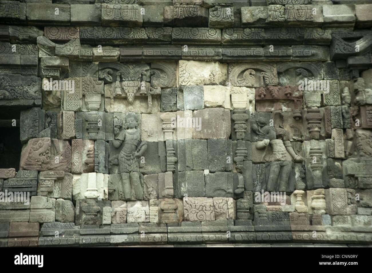 Reliefs on Buddhist temple walls, Plaosan Lor, Candi Plaosan, Prambanan District, Central Java, Indonesia - Stock Image