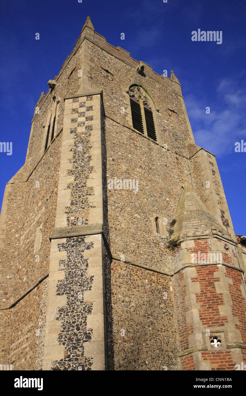 Medieval church tower, St. Mary's Church, Bacton, Suffolk, England, november Stock Photo