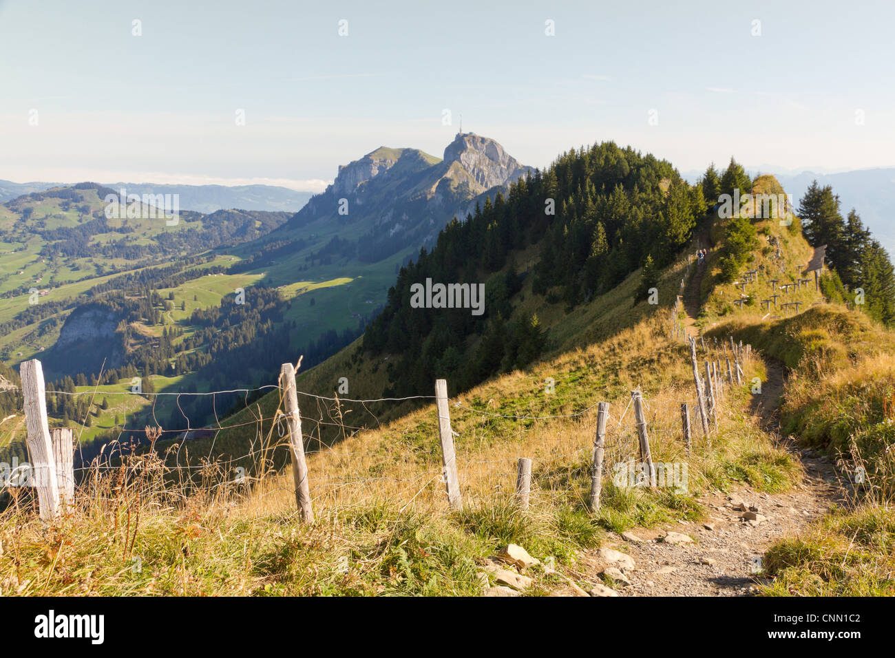 hiking path through rocky mountainous terrain with mountain Säntis in the distance - Stock Image