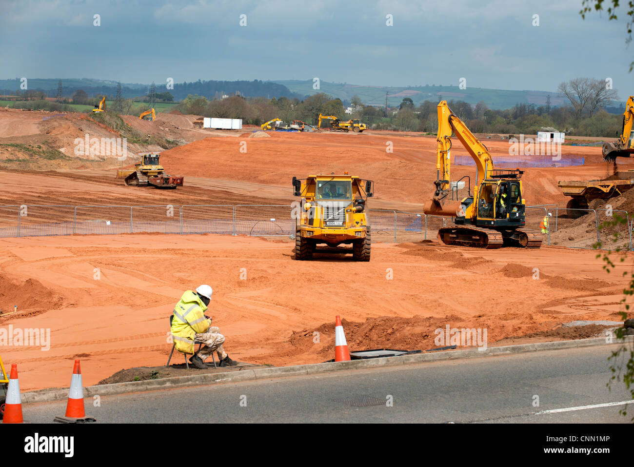 Groundwork development underway at the new Sainsburys distribution center to the East of Exeter part of East Devon - Stock Image