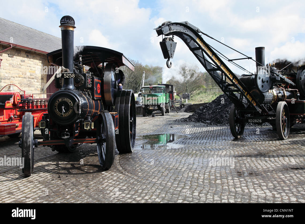 Two steam traction engines and a steam lorry at the North of England Open Air Museum Beamish NE England UK - Stock Image