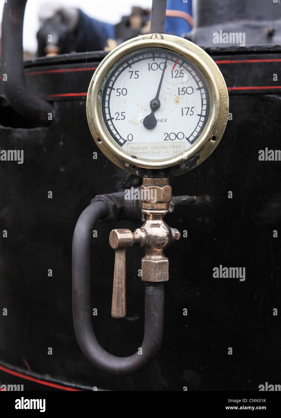 A boiler steam pressure gauge North of England Open Air Museum Beamish NE England UK - Stock Image