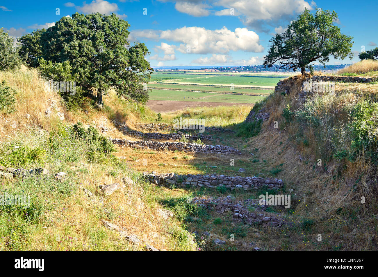 Part of the Schliemann Trench excavated from 1871.  Ancient Troy Archaeological site, Turkey - Stock Image