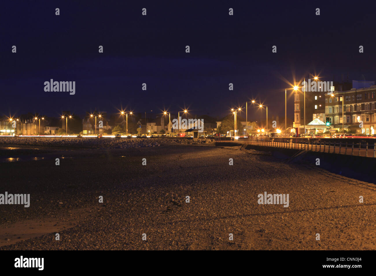 View of seaside resort town beach and promenade at night, Morecambe Promenade, Morecambe, Lancashire, England, september - Stock Image