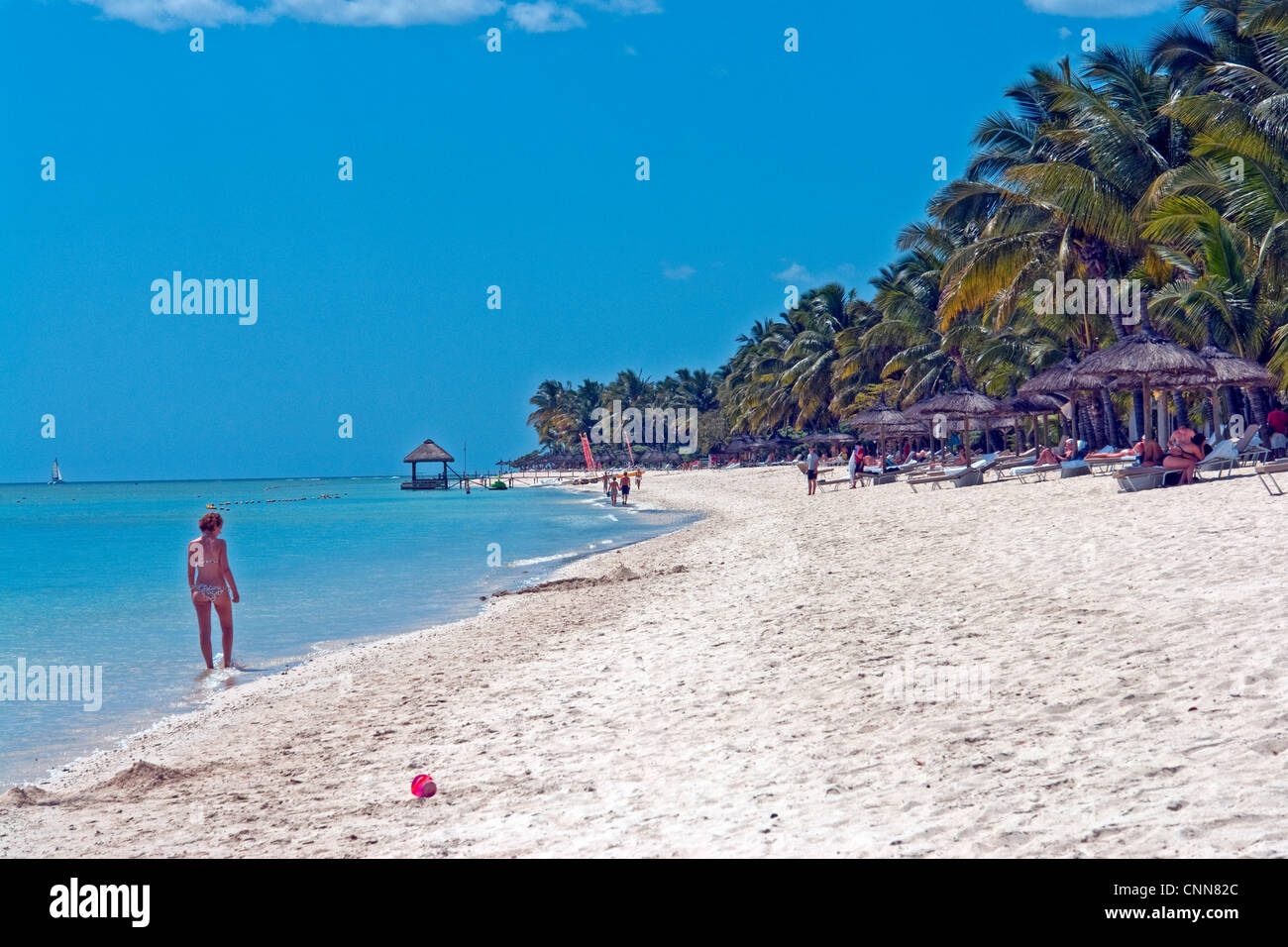 The beach in front of La Pirogue Hotel, at Wolmar, just south of Flic en Flac on the West coast of Mauritius Stock Photo