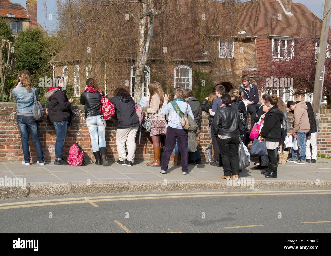 Students School Trip Tour Canterbury Kent UK - Stock Image